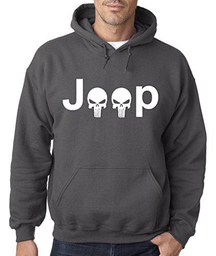 New Way 606 - Hoodie JEEP PUNISHER LOGO SKULLS Unisex Pullover Sweatshirt Medium Charcoal