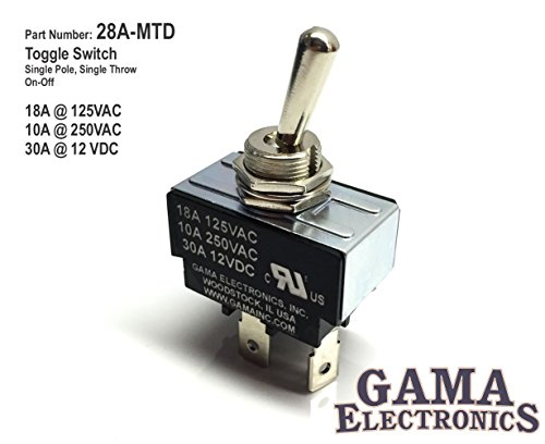 GAMA Electronics 30 Amp Toggle Switch SPST On-Off (Volt Amp 12 30 Switch)