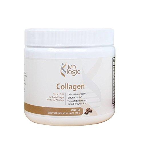 Hydrolyzed Collagen Powder   Types 1 & 3   with Biotin for Hair, Skin & Nails   Mocha Flavor