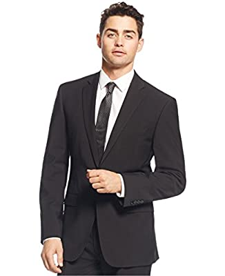 Calvin Klein Slim Fit Black Solid Wool 2 Button Flat Front New Men's Suit Set