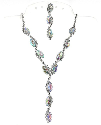Set Necklace Rhinestone Ab - Mevoi Charming Marquies and Round Simulated Rhinestone Formal Necklace Earrings Set ((AB) White)
