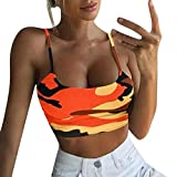Uscharm Women Camouflage Sleeveless Tanks Strap Crop Top Bustier Yoga Sleeveless Blouse V-Neck Camis (Orange, XL)
