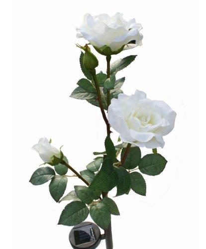 Solar White Rose Flower Lights , Solar Powered Garden Outdoor Decorative Landscape LED Rose Lights Year-round, Great Gift ()