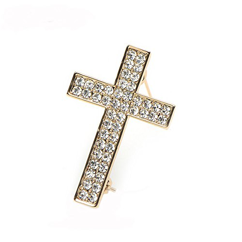 Crystal Religious Brooch - MANZHEN Delicate Gold Silver Crystal Rhinestone Cross Crucifix Brooch Pin (Gold)