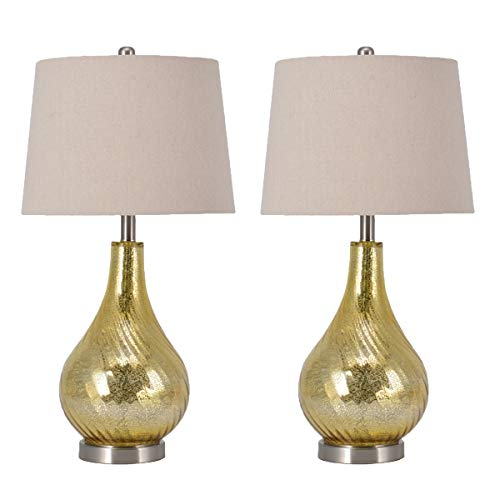 Pauwer Gourd Mercury Glass Table Lamps Set of 2 for Living Room Bedroom Office (Gold) ()