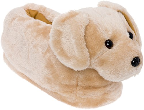 Silver Lilly Golden Retriever Slippers - Plush Dog Slippers w/Platform by (Gold, Large) (Silver Slipper)