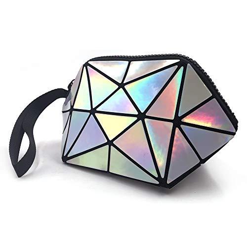 Longjet Holographic Geometric Luminous Purses Foldable Makeup Bag (Laser) (Wrist Large Bag)