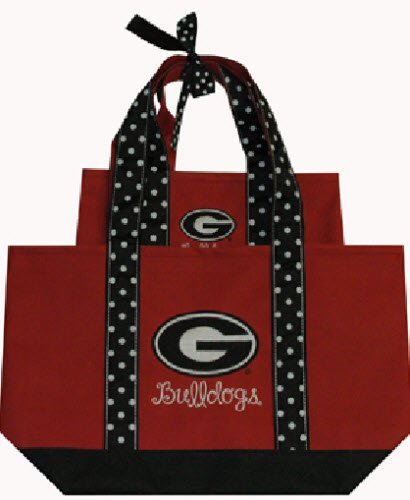 (Game Day Outfitters NCAA Georgia Bulldogs Women's Polka Dot Handle Tote Bag (2 Piece), One Size, Multicolor)