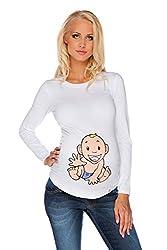 My Tummy Women's Maternity T-shirt Long Sleeve Baby-Boy Boy S (Small)