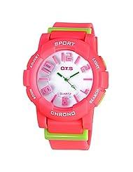 Water-proof Wrist Watch Digital-analog Students Harajuku Candy Watch with Alarm Quartz Stopwatch Red