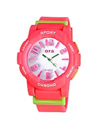 Water-proof Wrist Watch Digital-analog Students Harajuku Candy Watch with Alarm Quartz Stopwatch Red