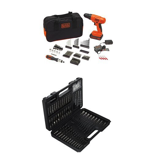 BLACK+DECKER BDC120VA100 20-Volt MAX Lithium-Ion Drill Kit with 100 Accessories and BDA91109 Combination 109-Piece Accessory Set