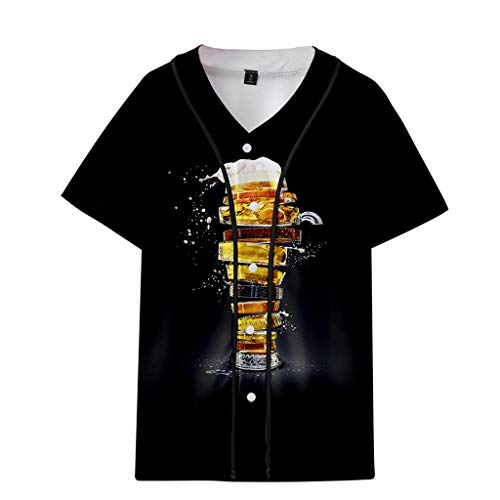 Men's Summer Beer Festival 3D Printing Thin Short Sleeve Baseball Clothing Tops Black