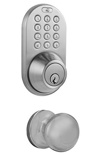 MiLocks DFK-02SN Electronic Touchpad Entry Keyless Deadbolt and Passage Knob Combo, Satin Nickel (Electronic Entry Knob)