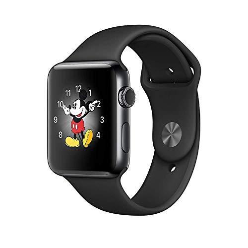 (Apple Watch Series 3, 42MM, GPS + Cellular, Space Black Stainless Steel Case, Black Sport Band (Renewed))