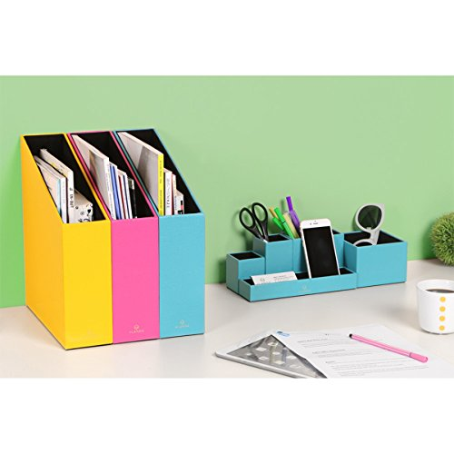 VPACK Leatherette 5 Compartment Multifunctional DIY Office Desk  Organizer,Desktop Stationery Storage Box, Card/Pen/Pencil/Mobile  Phone/Remote Control Holder ...