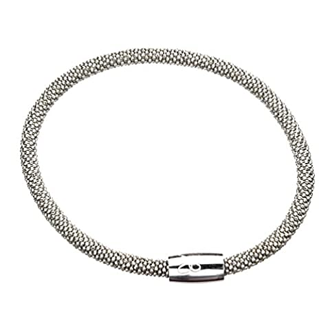 Rhodium-Flashed Sterling Silver Flexible Popcorn Magnetic Clasp Mesh Bracelet Italy (Magnetic Sterling Silver)