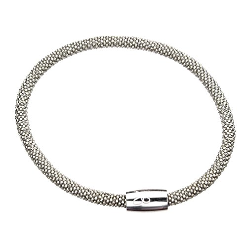 Rhodium-Flashed Sterling Silver Flexible Popcorn Magnetic Clasp Mesh - Hallmark Popcorn