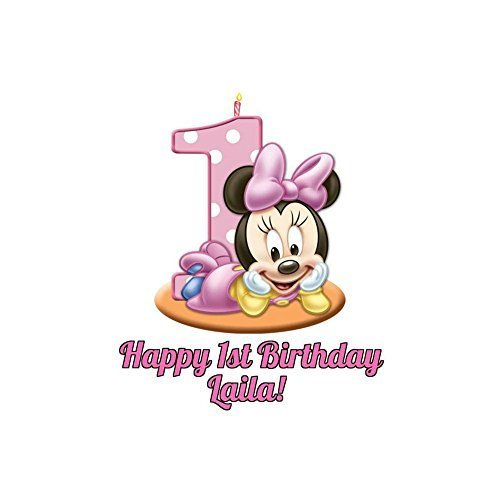 Marvelous Minnie Mouse Round Girls 1St Birthday Edible Image Photo Cake Funny Birthday Cards Online Inifodamsfinfo