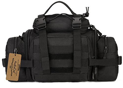 ArcEnCiel Mens Fanny Pack Military Duffle Molle Tactical Cargo Gear Shoulder Bag (Black)
