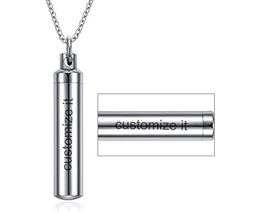 Free-Engraving Personalized Stainless Steel Cylinder Remembrance Memorial Ash Cremation Urn Pendant Necklace ()