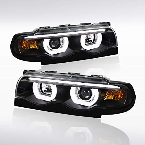 Autozensation For BMW E38 7-Series Euro Black Dual Halo LED Strip Projector Headlights Pair