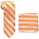 Stacy Adams Men's big-tall solid Woven Formal Stripe Tie Set Extra Long, Orange