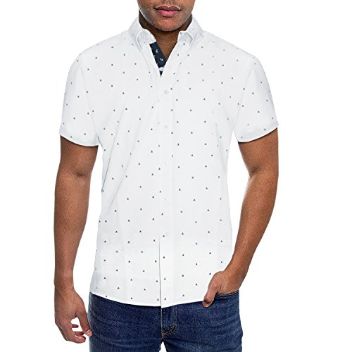 (Mens Slim Fit Short Sleeve Button Down Polo Oxford Shirt MST46568 SAA White S )