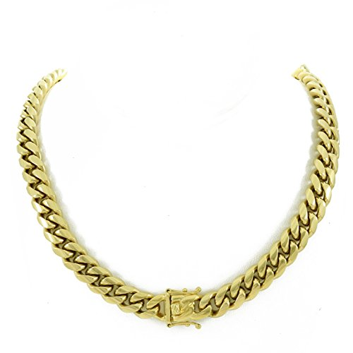Harlembling Men's Miami Cuban Link Chain 14k 18k Yellow Gold White Or Rose Gold Plated Stainless Steel 8-18mm Thick (14k Yellow Gold 12mm, 20) ()