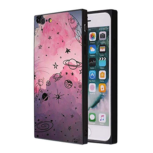 Starry Sky iPhone 7 8 Case, Soft Flexible TPU Back Cover Rectangle Case Compatible with iPhone 7 8 (Black)