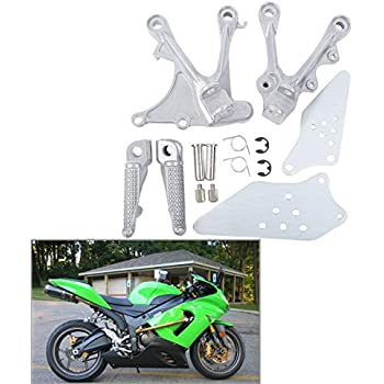 TCMT Silver Front Foot Pegs Motorcycle Footpeg Footrest Bracket Set Fits For KAWASAKI NINJA ZX6R ZX-6R 05-08 ZX636 2005 2006 ZX6R ZX636 2005 2006 2007 2008