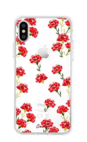 Argyle Roses (Casery iPhone XR Case, Carnation Nation (Clear Rose) - Military Grade Protection - Drop Tested - Protective Slim Clear Case for Apple iPhone XR)
