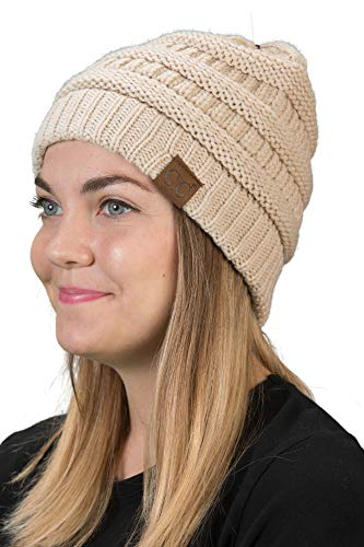 Funky Junque H-6020a-60 Solid Ribbed Beanie - Beige ()