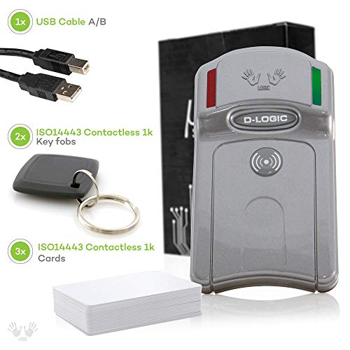 D-Logic uFR Classic - RFID, NFC Reader Writer, 13.56MHz Contactless Smart Card Programmer for Windows, Linux, Mac OS X, Raspberry Pi, Beaglebone + Free SDK and 5 tags.
