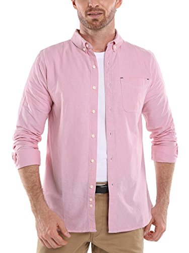 Men's Solid Color Oxford Long Sleeve Button Down Casual Shirt,Red,X-Large