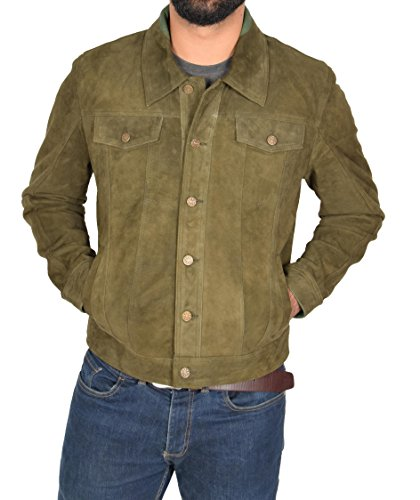 Mens Lightweight Goat Suede Trucker Jacket Classic Western Shirt Daryl Green (Medium) (Jacket Shirt Lined Suede Fully)