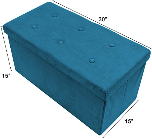 Sorbus Storage Ottoman Bench – Collapsible/Folding Bench Chest with Cover – Perfect Toy and Shoe Chest, Hope Chest, Pouffe Ottoman, Seat, Foot Rest, – Contemporary Faux Suede (Medium-Bench, Teal) - Oasis Bed Set