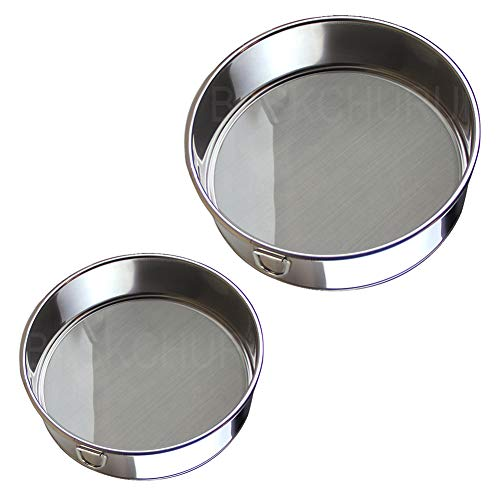 Flour Sifter for Baking (6-Inch and 8-Inch) - Sieve Fine Mesh,Set of 2 (60 Mesh) - Premium Rustproof Stainless Steel