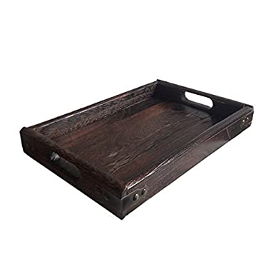 JPcraft Simply Espresso Brown Rectangle Wooden Serving Tray, 15.7 by 11-Inch