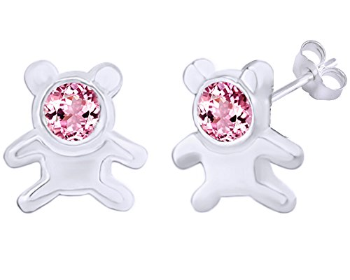 14k Bear Teddy Ring (Mothers Gift Simulated Tourmaline Cute Teddy Bear Stud Earrings 14K White Gold Over Sterling Silver)