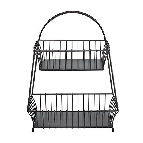 Gourmet Basics by Mikasa 5190753 General Store 2-Tier Flatback Metal Storage Basket, 18-Inch, Antique Black