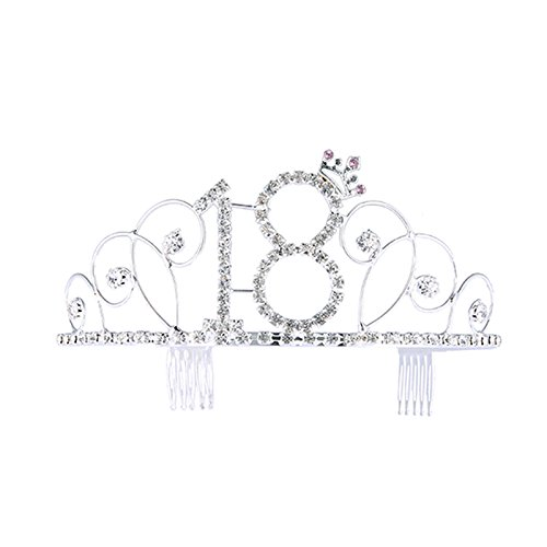 Birthday Crown Frcolor Rhinestone Birthday Tiara Happy 18th Birthday ()