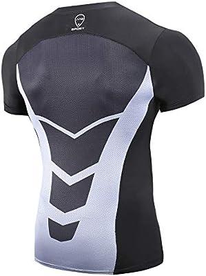 AMZSPORT Camisa de Compresión para Hombre Camiseta de Manga Corta Capa Base Seca y Fresca Fitness Top, Negro S: Amazon.es: Ropa y accesorios