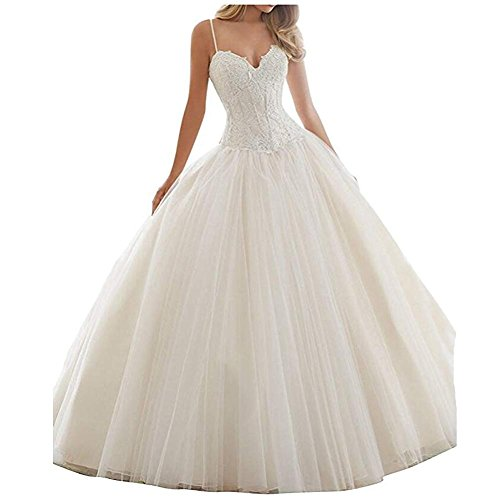 Onlylover Women's Lace Ball Gown Wedding Dresses V Neck Straps Bridal Gowns White Size 26W