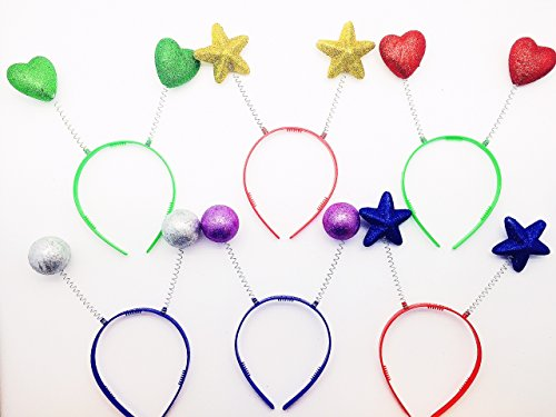 GiftExpress Pack of 12, Sparkle Party Head Boppers Assortment Party Favor/ Sparkle Party Headband/Photo Booth Accessory/Party Head Bopper/Photo Booth Props]()
