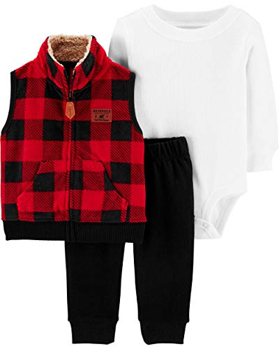 Carter's Baby Boys' 3 Piece Plaid Patch Little Vest Set 6 Months,Red (Christmas For Boys Outfits)