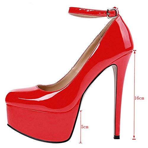 Pumps 5 181 Red Women's Round 5 Y Stilettos Toe US Classic Strap Buckle MERUMOTE Shoes Platform 15 q4BOwwP
