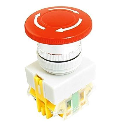 De seta 10A 600V SPST NA NC Enclavamiento interruptor de pulsador rojo - - Amazon.com