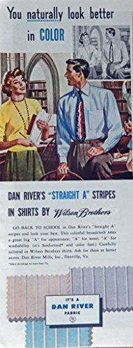 Dan Rivers Fabric, 40's Print ad. Color Illustration (wilson brothers) Authentic original, Vintage 1949 Collier's Magazine Print Art