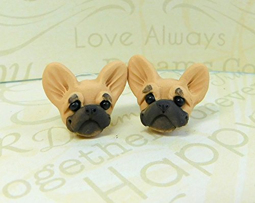Fawn French Bulldog Frenchie Earrings Clay by Raquel at theWRC hand sculpted polymer clay